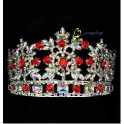 3 Inch AB Rhinestone Round Tiara For Parenting Hair Crown