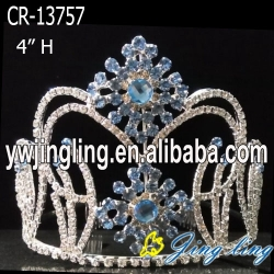 Light Blue Snowflake Rhinestone Pageant Crown