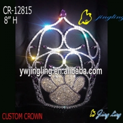 custom cute paws shape pageant crown