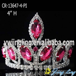 4 inch pink  big rhinestone pageant crowns