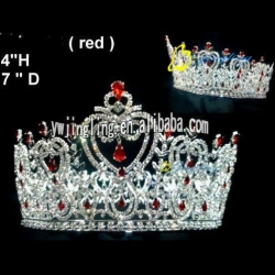 red rhinestone heart tiara full round large pageant crown