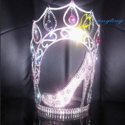 cute lady heels crown rhinestone pageant crowns
