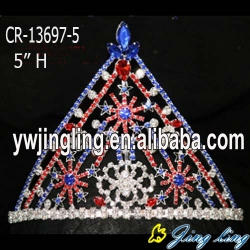 New Aarrived star red blue clear Christmas Pageant crowns