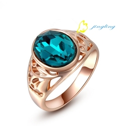 Rose Gold Plated Greenish Blue Austrian Crystal Ring Jewelry