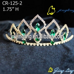 green color Rhinestone Pageant Crowns