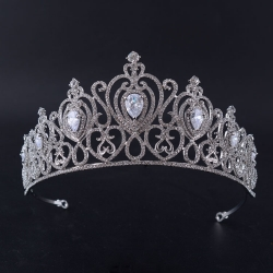Multiple Peach Heart Big Diamond Alloy Pageant Crown For Queen