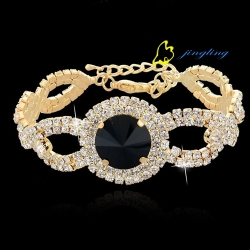 2015 New Fashion Crystal Bracelet Wedding Bracelet Jewelry Silver Chain Rhinestone Bangle Bracelets