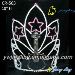big crown star and guitar shape rhinestone pageant crown