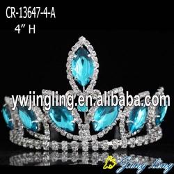4 inch aqua big rhinestone pageant crowns