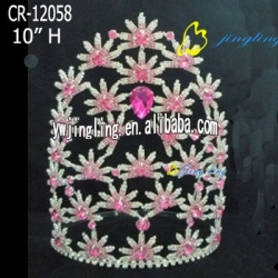 large flower rhinestone pageant crowns for sale