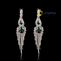 Fashion  Dangle Earrings Silver Rhinestone Earrings Rhinestone  Fashionable Design