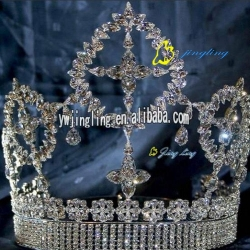 large full round pageant prize crown tiara