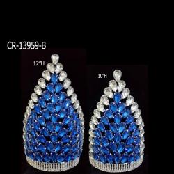 Blue Water Drop Crown Princess Tiara Diadema For Engagement