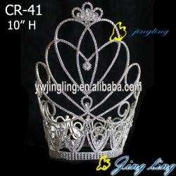 new design Large tiara rhinestone big pageant crown