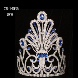 "10"" Crystal Crown Sapphire Rhinestone Pageant Crown Bridal Headpieces"