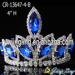 4 inch blue mini  rhinestone pageant crowns