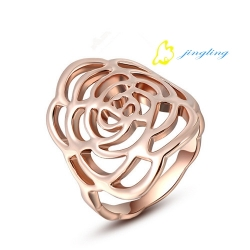 Fashion Jewelry Rose Gold Plated Rose Shaped Ring