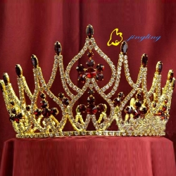 Tall Big Large Pageant red rhinestoneRound Tiara Crown