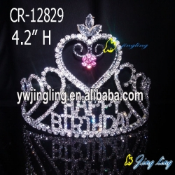 sweet heart rhinestone tiara valentine's day crown