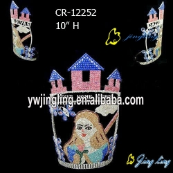 Girls castle tiara rhinestone pageant crowns