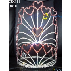 Red stone heart shape custom pageant valentine crowns
