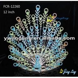 12 Inch Large Pageant Crown Colorful Peacock Tiara Bridal Headpiece Rhinestone Diadem