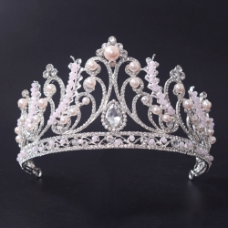 Silver Plated Pearl Wedding Tiara Princess Crown For Girls