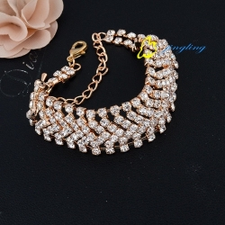 Luxury Wedding Jewelry Bracelets Bangles Silver Plated Chain Shiny Austrian Crystal Brcelet