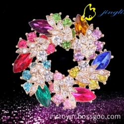 Women Christmas Gift Fashion Alloy Brooches glass bra pin Wedding brooches