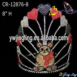 Custom Rhinestone  Cute Bear Heart Holiday Pageant Crown