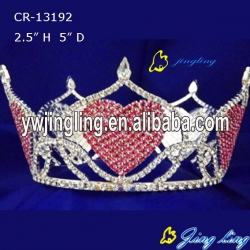 Full Round Crown Red Heart Shape