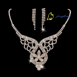 Fashion Lady Jewelry Kits Women Pretty Necklace Silver And Gold Shining Women Earrings