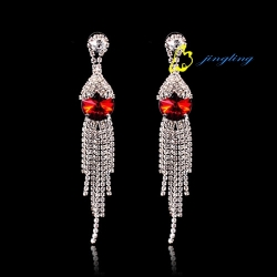 Drop Earrings Dangle Earring Rhinestone And Copper Materials Cubic Zirconia Earrings With Red Rhines