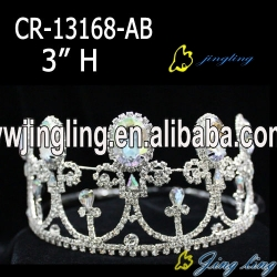 fashion style big ruby rhinestone pageant crown for sale