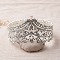 Special Pearl Rhinestone Beauty Queen Full Round Crown