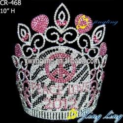 large rhinestone peace crowns