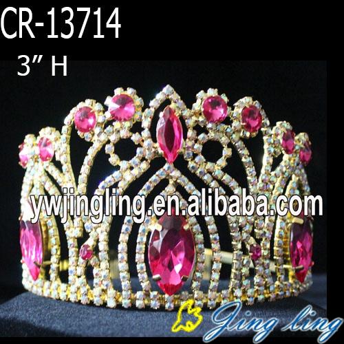 Pink Rhinestone wholesale Crowns And Tiaras