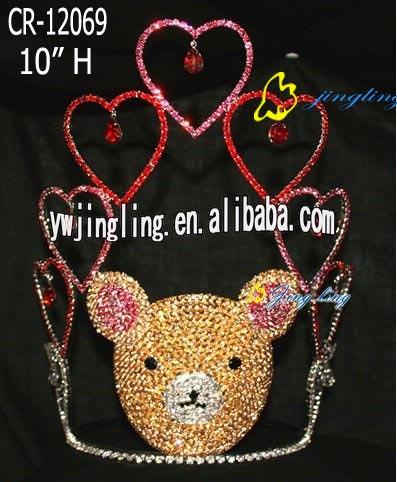 crown bear head heart shape