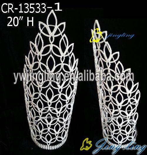 Pageant Crown 20 Inch Bridal Tiara Silver Plated Rhinestone Diadem Princess Accessories
