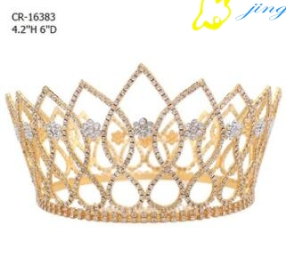 Gold Plated Flower Round Beauty Pageant Crown