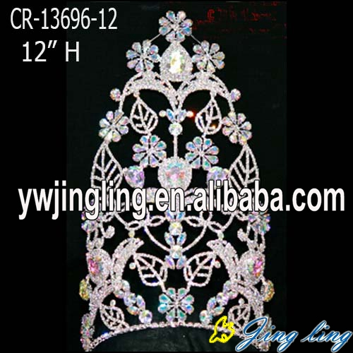 Flower Leaves Beauty Queen Crowns Princess Rhinestone Tiara Accessories