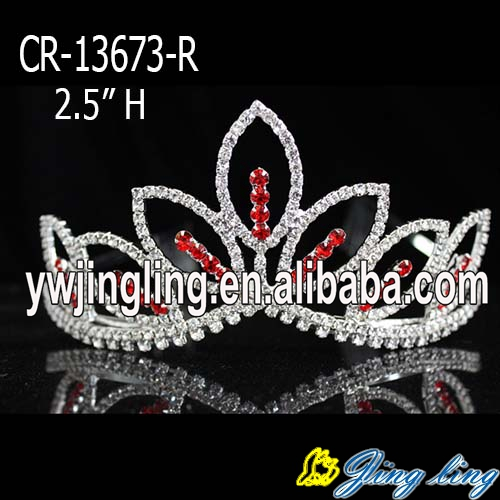 Wholesale red  rhinestone cheap wedding pageant crowns