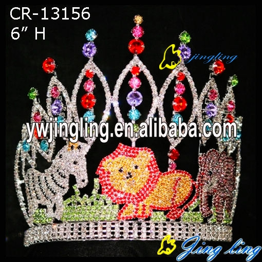 Colored Rhinestone Animal lion Zebra Circus Pageant Crown