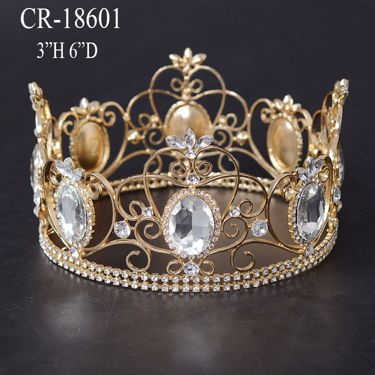 2016 Gold Plated Chunky Rhineston Full Round Crown