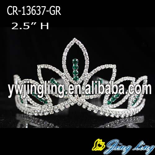 Wholesale green  rhinestone cheap wedding pageant crowns