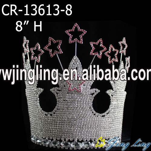 rhinestone star and castle pageant crown