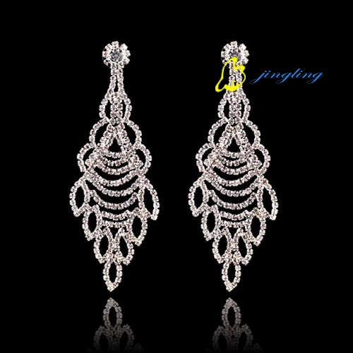 2015 New Fashion Accessories Clear Color Big Water Drop Crystal Pendant Women Earrings Luxury Party
