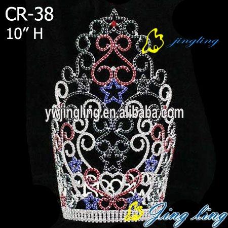 Large colored star tiara patriotic rhinestone pageant crown