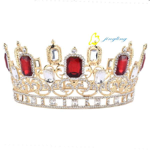 Big Red Rhinestones Bridal Tiara Queen Crown For Wedding