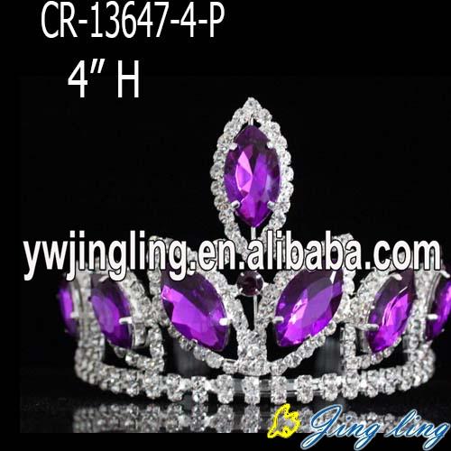 4 inch purple  mini  rhinestone pageant crowns